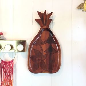 Vintage carved wood pineapple serving wall hanging